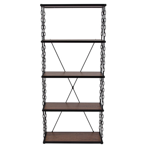 """Lowest Price Vernon Hills Collection 4 Shelf 57""""H Chain Accent Metal Frame Bookcase in Antique Wood Grain Finish"""