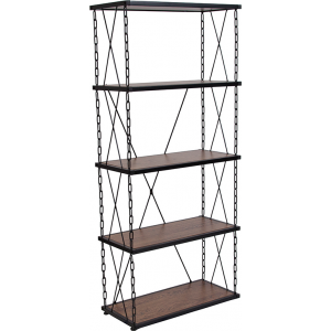 "Wholesale Vernon Hills Collection 4 Shelf 57""H Chain Accent Metal Frame Bookcase in Antique Wood Grain Finish"
