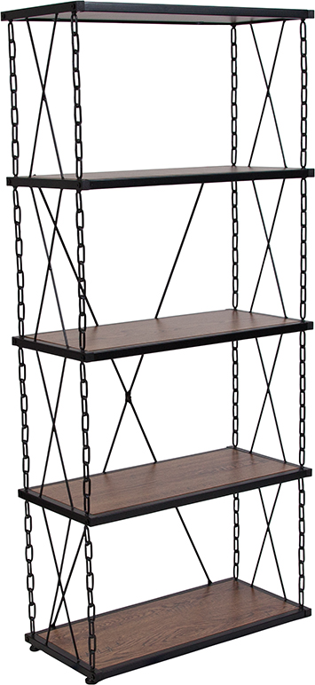 """Wholesale Vernon Hills Collection 4 Shelf 57""""H Chain Accent Metal Frame Bookcase in Antique Wood Grain Finish"""