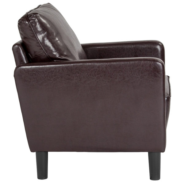 Lowest Price Washington Park Upholstered Chair in Brown Leather