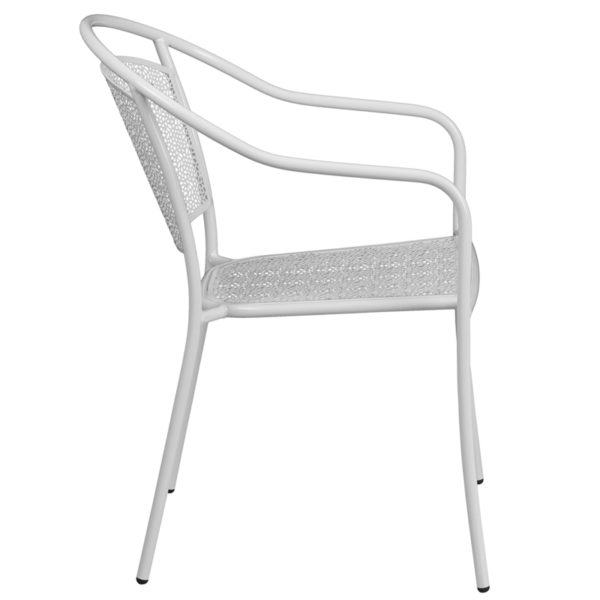 Lowest Price White Indoor-Outdoor Steel Patio Arm Chair with Round Back