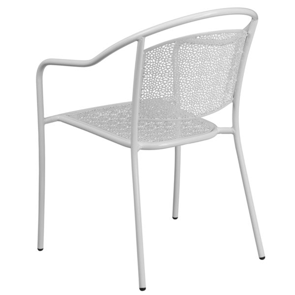 Stackable Patio Chair White Round Back Patio Chair