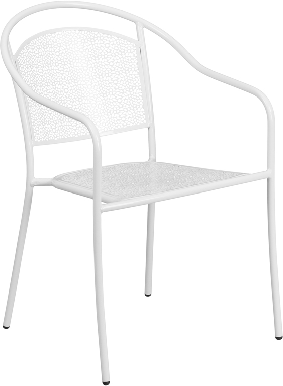 Wholesale White Indoor-Outdoor Steel Patio Arm Chair with Round Back