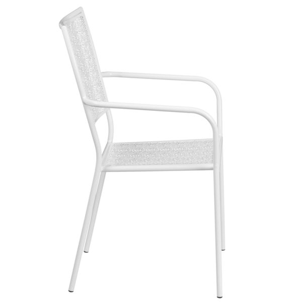 Lowest Price White Indoor-Outdoor Steel Patio Arm Chair with Square Back