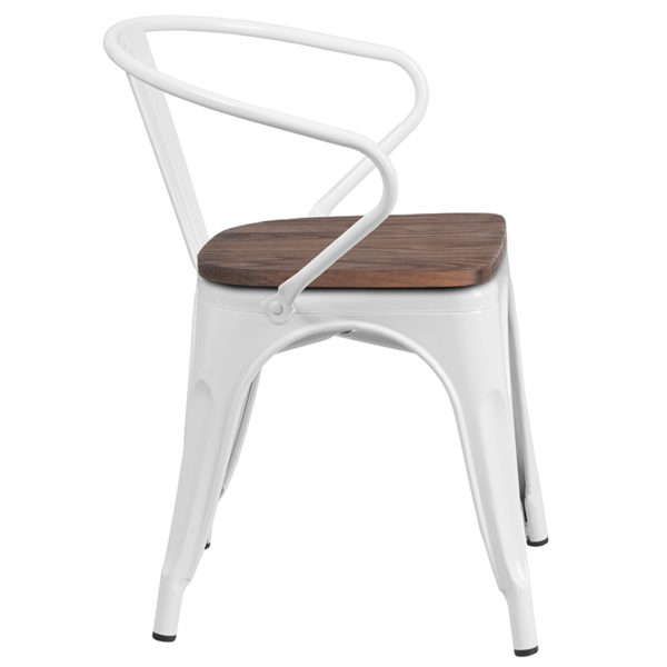 Lowest Price White Metal Chair with Wood Seat and Arms