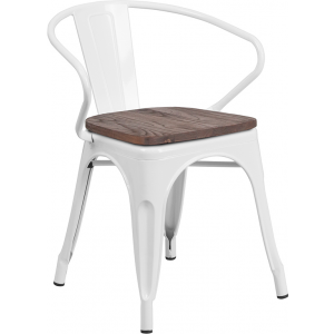 Wholesale White Metal Chair with Wood Seat and Arms