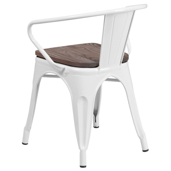 Stackable Bistro Style Chair White Metal Chair With Arms