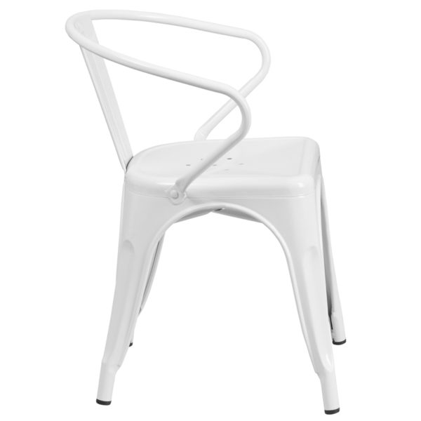 Lowest Price White Metal Indoor-Outdoor Chair with Arms