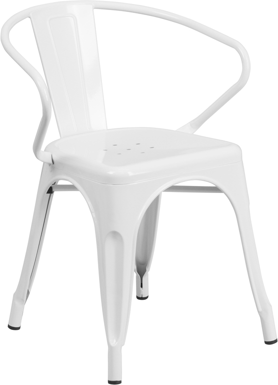 Wholesale White Metal Indoor-Outdoor Chair with Arms
