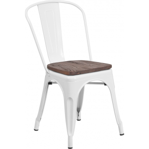 Wholesale White Metal Stackable Chair with Wood Seat