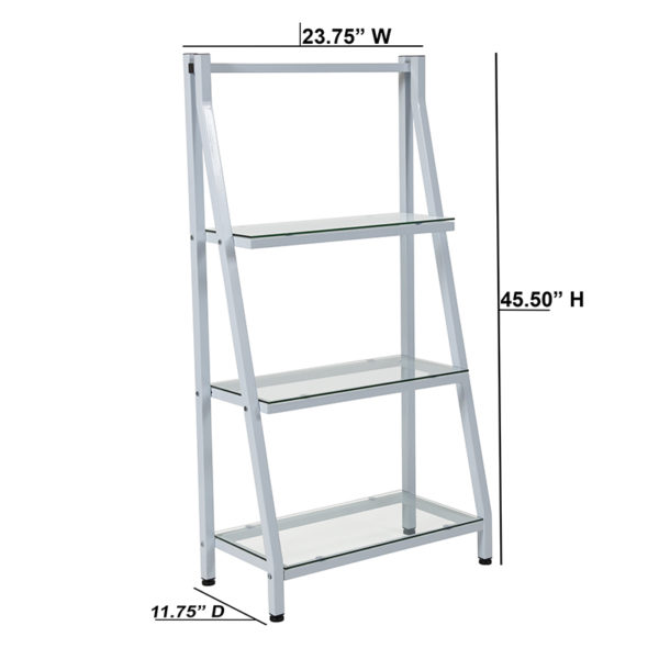 "Lowest Price Winfield Collection 3 Shelf 45.5""H Glass Bookcase with White Metal Frame"