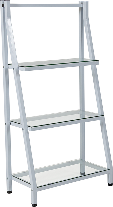 "Wholesale Winfield Collection 3 Shelf 45.5""H Glass Bookcase with White Metal Frame"