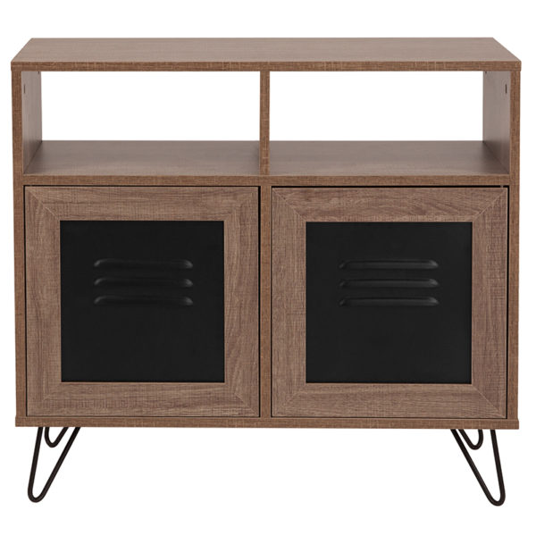 "Lowest Price Woodridge Collection 29.75""W 2 Shelf Storage Console/Cabinet with Metal Doors in Rustic Wood Grain Finish"