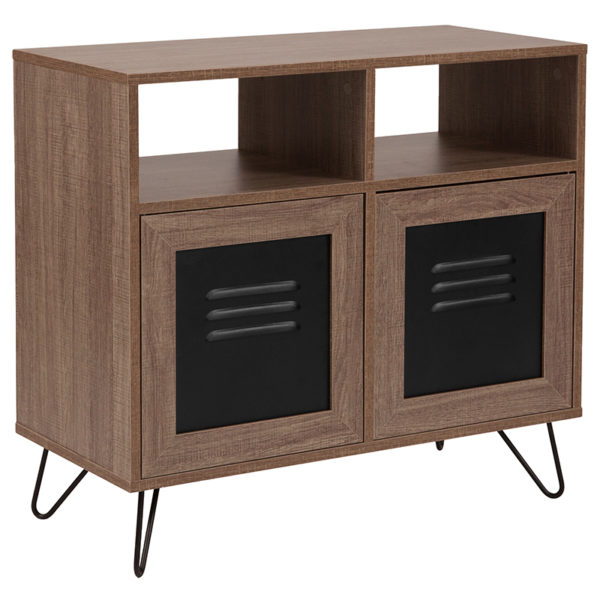 "Wholesale Woodridge Collection 29.75""W 2 Shelf Storage Console/Cabinet with Metal Doors in Rustic Wood Grain Finish"