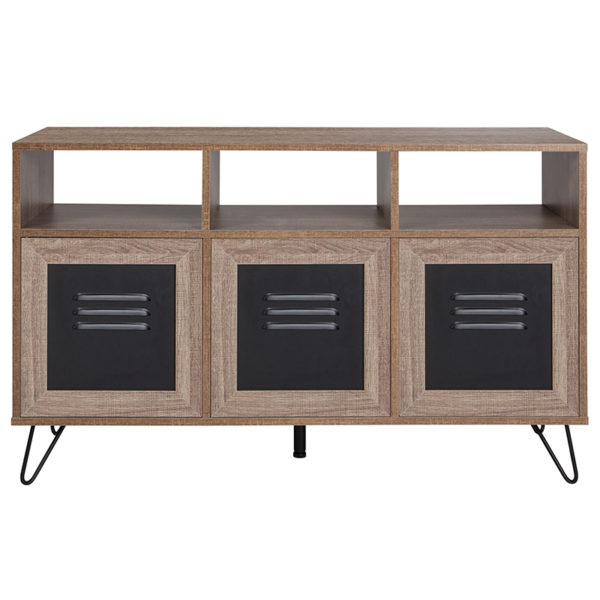 """Lowest Price Woodridge Collection 44""""W 3 Shelf Storage Console/Cabinet with Metal Doors in Rustic Wood Grain Finish"""