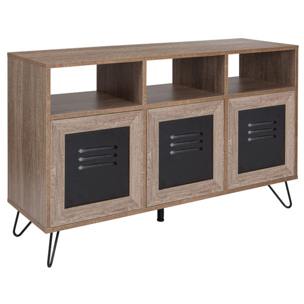 """Wholesale Woodridge Collection 44""""W 3 Shelf Storage Console/Cabinet with Metal Doors in Rustic Wood Grain Finish"""
