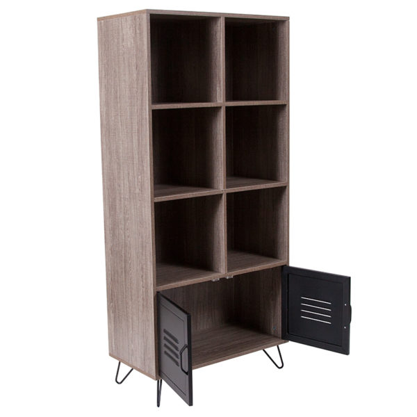 """Lowest Price Woodridge Collection 59.25""""H 6 Cube Storage Organizer Bookcase with Metal Cabinet Doors and Metal Legs in Rustic Wood Grain Finish"""