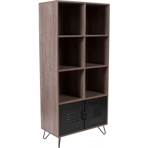 "Wholesale Woodridge Collection 59.25""H 6 Cube Storage Organizer Bookcase with Metal Cabinet Doors and Metal Legs in Rustic Wood Grain Finish"