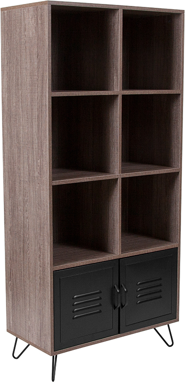 """Wholesale Woodridge Collection 59.25""""H 6 Cube Storage Organizer Bookcase with Metal Cabinet Doors and Metal Legs in Rustic Wood Grain Finish"""