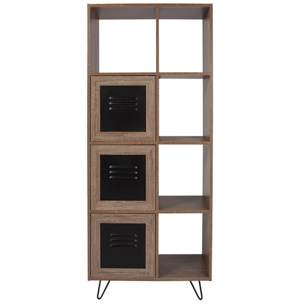 """Lowest Price Woodridge Collection 63""""H 5 Cube Storage Organizer Bookcase with Metal Cabinet Doors in Rustic Wood Grain Finish"""