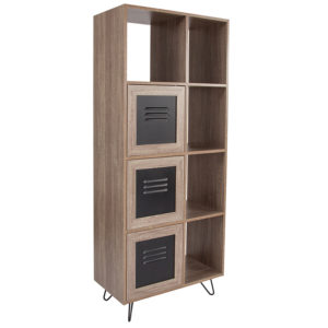 "Wholesale Woodridge Collection 63""H 5 Cube Storage Organizer Bookcase with Metal Cabinet Doors in Rustic Wood Grain Finish"