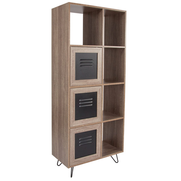 """Wholesale Woodridge Collection 63""""H 5 Cube Storage Organizer Bookcase with Metal Cabinet Doors in Rustic Wood Grain Finish"""