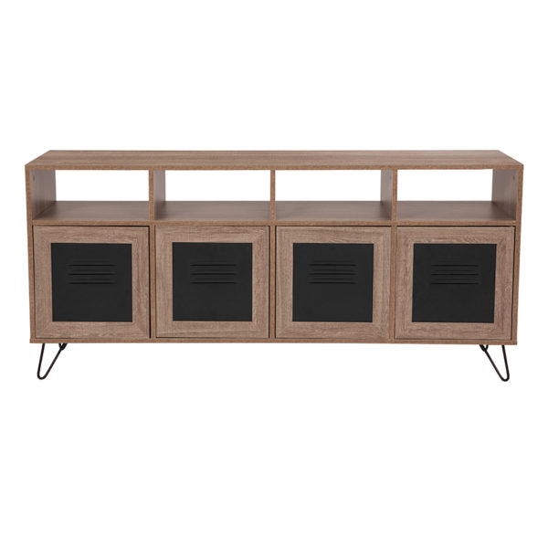 """Lowest Price Woodridge Collection 85.5""""W 4 Shelf Storage Console/Cabinet with Metal Doors in Rustic Wood Grain Finish"""