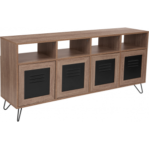 "Wholesale Woodridge Collection 85.5""W 4 Shelf Storage Console/Cabinet with Metal Doors in Rustic Wood Grain Finish"