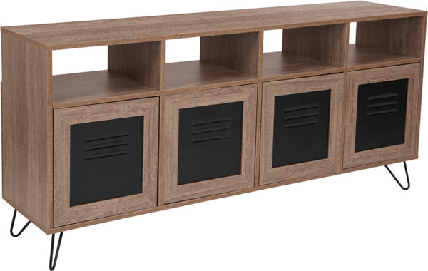 """Wholesale Woodridge Collection 85.5""""W 4 Shelf Storage Console/Cabinet with Metal Doors in Rustic Wood Grain Finish"""
