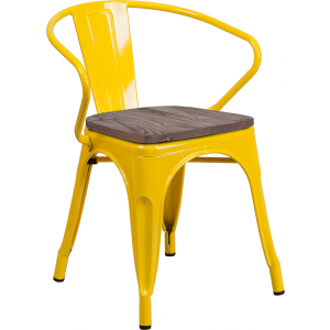 Wholesale Yellow Metal Chair with Wood Seat and Arms