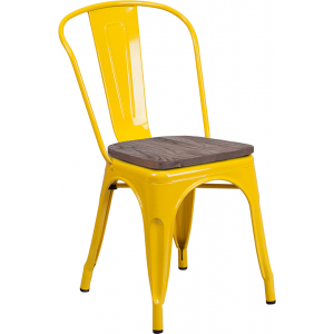 Wholesale Yellow Metal Stackable Chair with Wood Seat