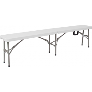 "Wholesale 11''W x 72""L Bi-Fold Granite White Folding Bench with Carrying Handle"