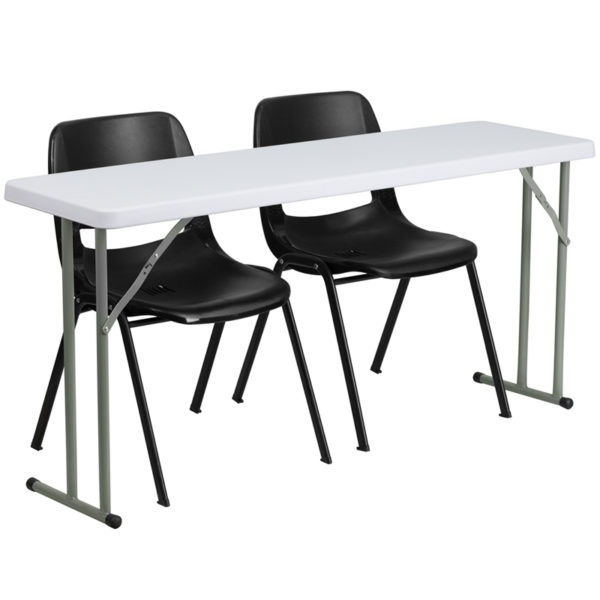 Wholesale 18'' x 60'' Plastic Folding Training Table Set with 2 Black Plastic Stack Chairs