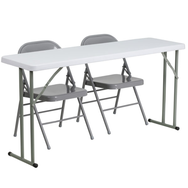 Wholesale 18'' x 60'' Plastic Folding Training Table Set with 2 Gray Metal Folding Chairs