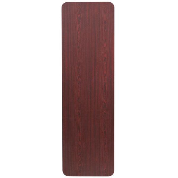 Lowest Price 18'' x 60'' Rectangular Mahogany Melamine Laminate Folding Training Table