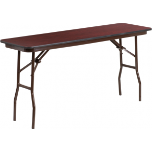 Wholesale 18'' x 60'' Rectangular Mahogany Melamine Laminate Folding Training Table