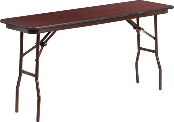 Wholesale 18'' x 60'' Rectangular Mahogany Melamine Laminate Folding Training Table