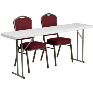 Wholesale 18'' x 72'' Plastic Folding Training Table Set with 2 Crown Back Stack Chairs