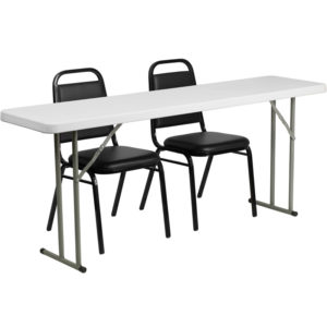 Wholesale 18'' x 72'' Plastic Folding Training Table Set with 2 Trapezoidal Back Stack Chairs