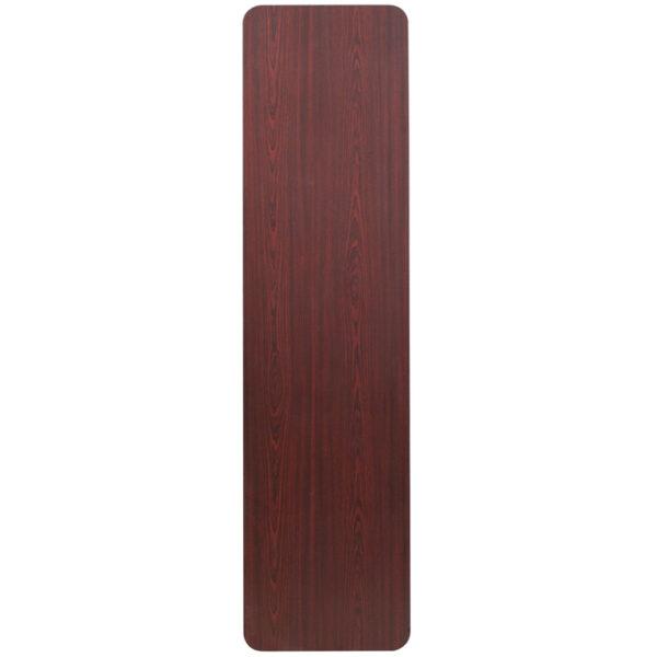 Lowest Price 18'' x 72'' Rectangular Mahogany Melamine Laminate Folding Training Table