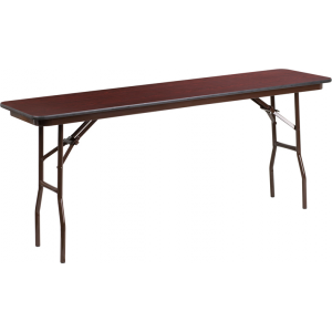 Wholesale 18'' x 72'' Rectangular Mahogany Melamine Laminate Folding Training Table