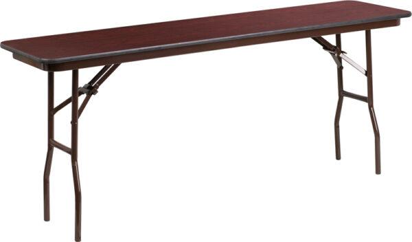 Wholesale 18'' x 72'' Rectangular Mahogany Melamine Laminate Folding Training Table