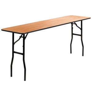 Wholesale 18'' x 72'' Rectangular Wood Folding Training / Seminar Table with Smooth Clear Coated Finished Top