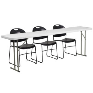 Wholesale 18'' x 96'' Plastic Folding Training Table Set with 3 Black Plastic Stack Chairs