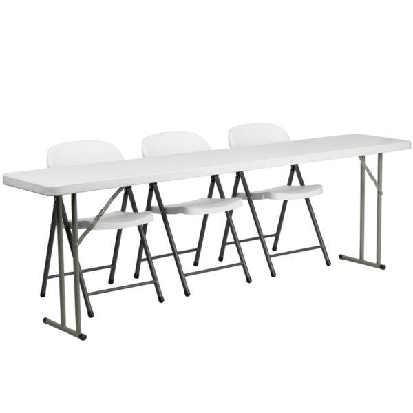Wholesale 18'' x 96'' Plastic Folding Training Table Set with 3 White Plastic Folding Chairs