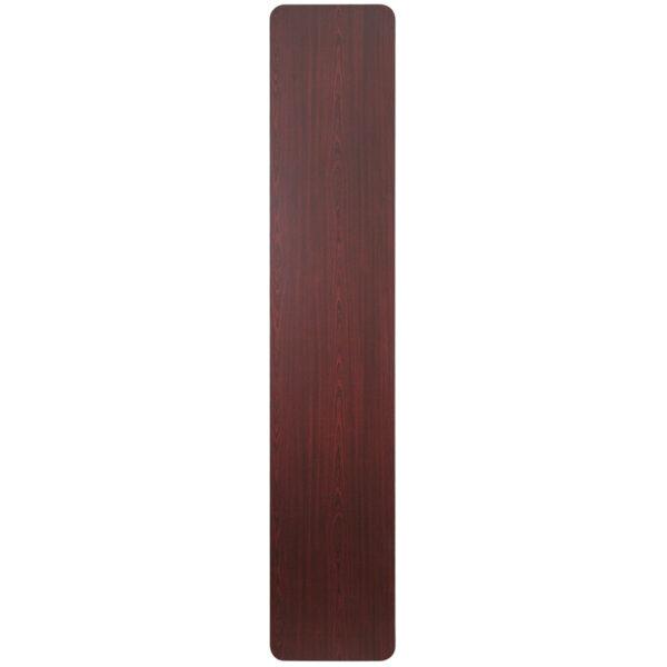 Lowest Price 18'' x 96'' Rectangular Mahogany Melamine Laminate Folding Training Table