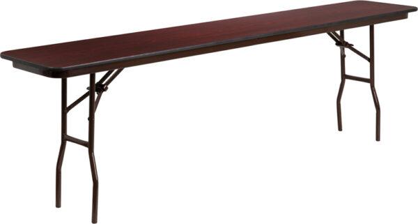 Wholesale 18'' x 96'' Rectangular Mahogany Melamine Laminate Folding Training Table
