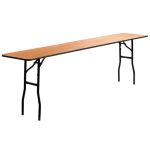 Wholesale 18'' x 96'' Rectangular Wood Folding Training / Seminar Table with Smooth Clear Coated Finished Top