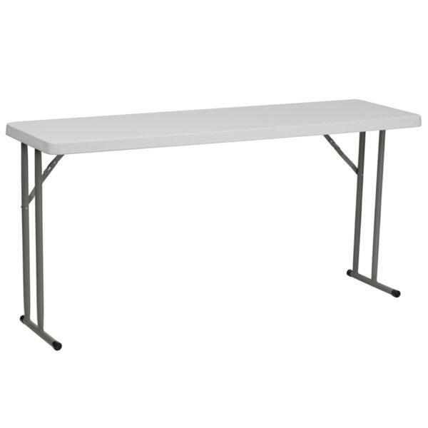 Wholesale 18''W x 60''L Granite White Plastic Folding Training Table