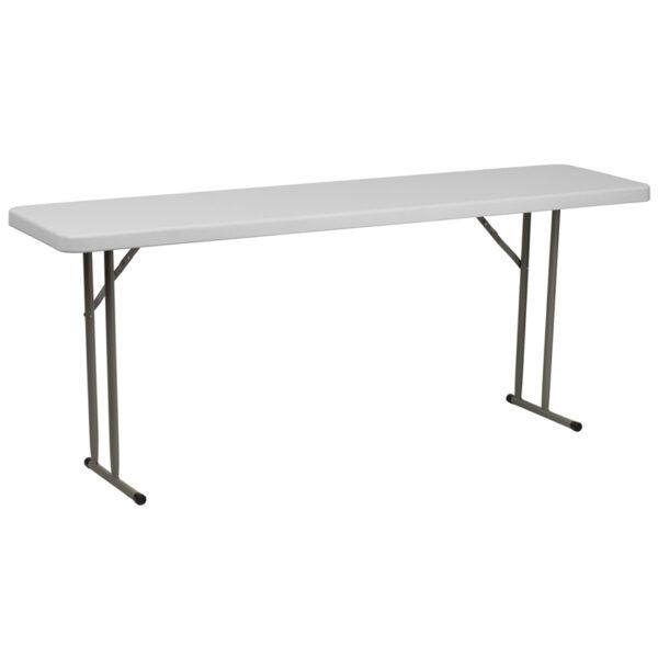 Wholesale 18''W x 72''L Granite White Plastic Folding Training Table